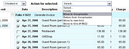 Ability to transfer charges between folios and to group leader